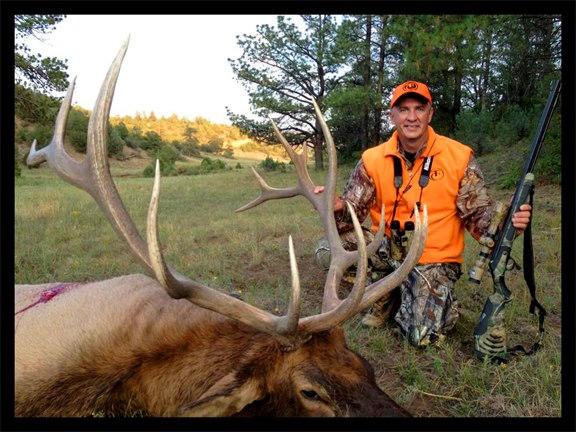 Hunting September 22, 2012: Team Realtrees David Blanton scores in Colorado yesterday (Saturday) on a monster elk. David took the bull at 110-yards with his TC-Arms, Bone Collector muzzleloader.