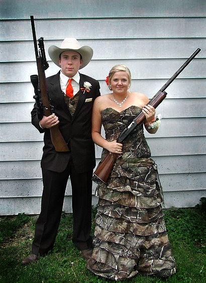 Hunting Zach Coverdale and Kristi Talbert's classmates were crazy if they didn't vote this couple from Indiana the King and Queen of their prom! Seriously, the couple look great in Zach's Realtree camo vest and Kristi's homemade Realtree AP dress. Update: We have