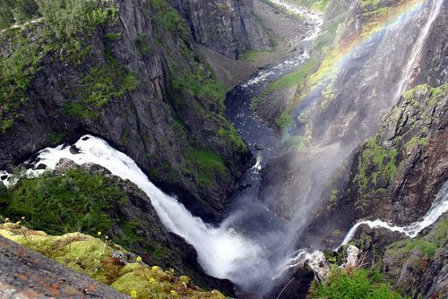 Camp and Hike Great view of Vøringsfossen - 182m waterfall, Eidfjord - Norway