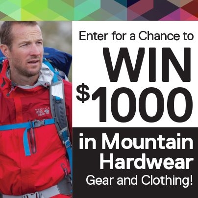 Only two days left to enter for your chance to win $1,000 worth of Mountain Hardwear gear and clothing! Click on the Mountain Hardwear tab above, or visit http://bit.ly/QJzSYI to enter. Hurry – sweepstakes ends Wednesday, November 21!