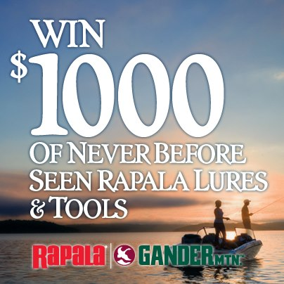 "Enter the Rapala Brand Collection Sweepstakes!  This is your chance to win $1,000 in fishing gear that won't be available to other anglers until 2013! Click on the ""Rapala Sweepstakes"" tab above, or visit http://apps.facebook.com/sweepstakeshq/contests/29"