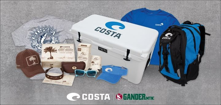 "Enter the ""Costa/Gander Mountain Tailgate Package Sweepstakes"" today for your chance to win a $1,000 package of gear!  This tailgate package includes a Yeti Roadie cooler, Costa backpack, t-shirts, visors, Kenny Chesney Costa sunglasses and more!  Click o"