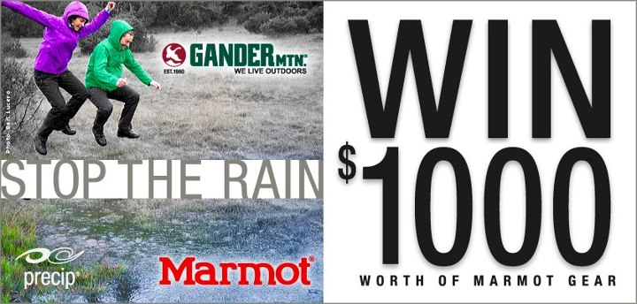 "Enter the ""Stop the Rain Sweepstakes"" today for your chance to win $1,000 worth of Marmot gear. Click on the ""Marmot Sweepstakes"" tab above, or visit http://apps.facebook.com/sweepstakeshq/contests/239037 to enter. Brought to you by your friends at Marmot"