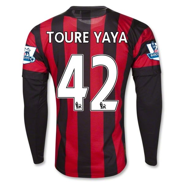 Entertainment Mens TOURE YAYA Manchester City Away Long Sleeve Soccer Jersey 11/12