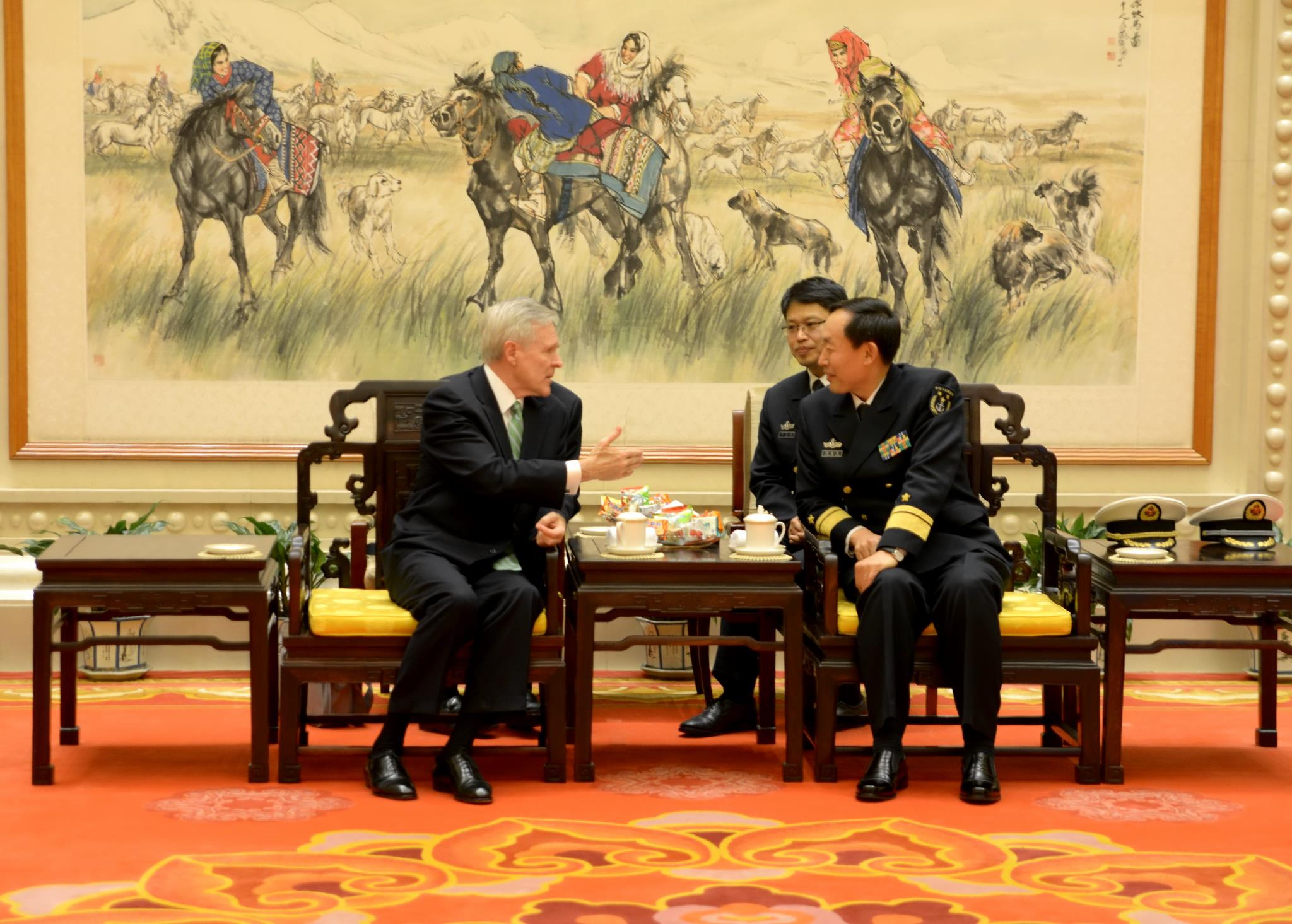 Guns and Military Secretary of the Navy Ray Mabus and Chinese Minister Discuss Seas