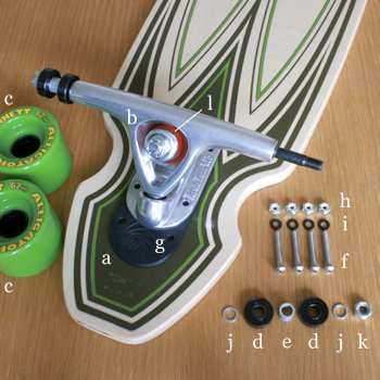 Longboarding Here is the anatomy of a complete longboard. These are also all of the items we must have ordered to build a custom complete.
