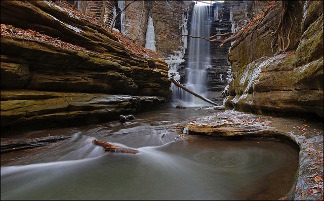 Camp and Hike The 45 foot tall Lake Falls in Matthiessen State Park, near Utica, Illinois