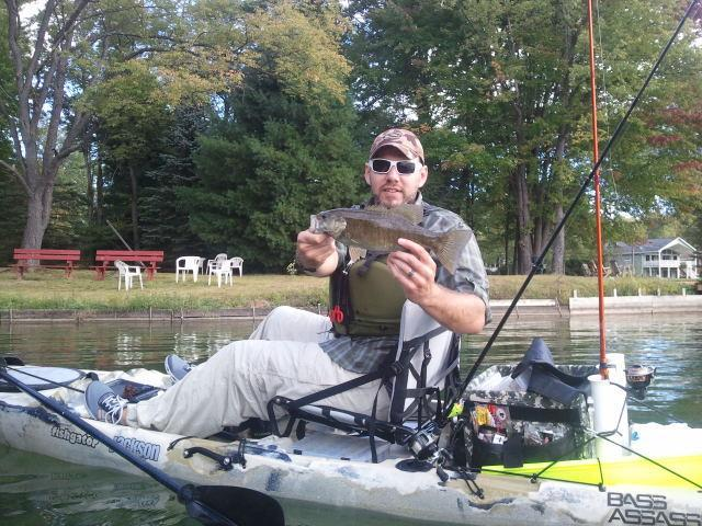 "Fishing Jimmy Yansick reports:  ""Picked up some NorthStar Custom Baits Black Series jigs and took them out to a great little Smallmouth lake here in NY. Went for 2 hours without a bite on anything. Paddled up to a floating dock and flipped the Brown Craw NSCB jig"