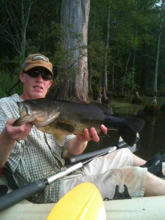 Fishing This true swamp donkey was takin in late july 2012 kayak fishing the chickohominy lake. Fishing thick grass mats and the edges we caught several nice toads this one being the biggest of the day at 5.4 lbs! She inhaled a kvd white caffine shad. Catching th