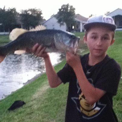 Fishing Cameron Lucas sends in this picture of a four pounder he caught out of a local pond on a white storm swimbait!