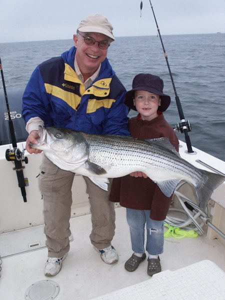 "Fishing Jack Baron caught this 48"" Striped bass in the chesapeake bay while trolling a jig"