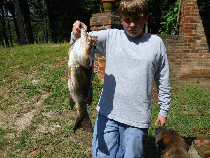 "Fishing Caleb Huber says:  ""My brother caught this 9 pounder using a Zoom Watermelon Seed Plastic Worm."""