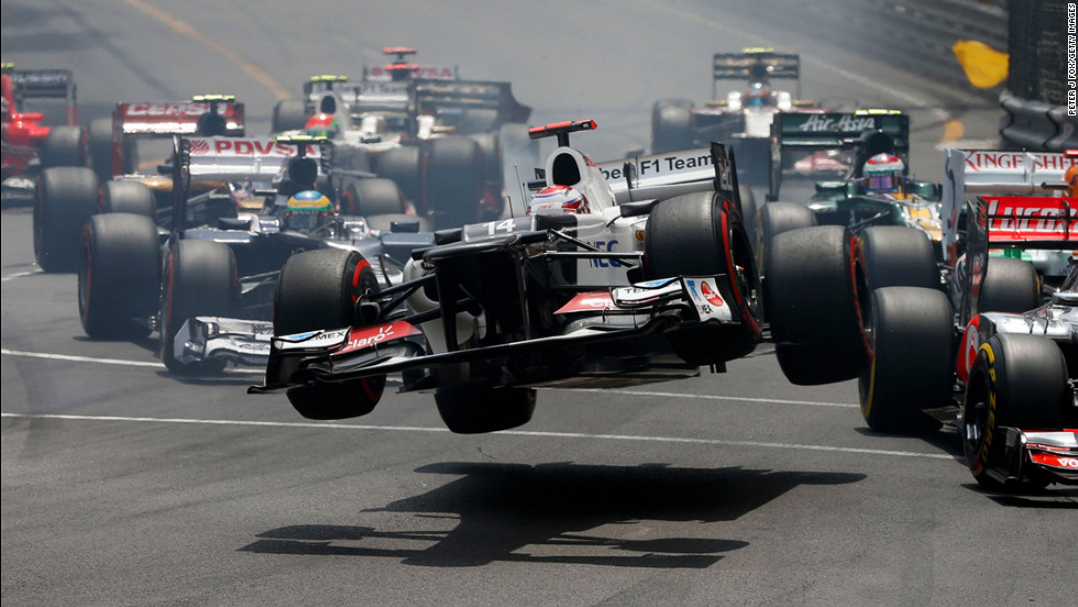 Motorsports The car driven by Kamui Kobayashi of Japan flies through the air after crashing during the start of the Monaco Formula One Grand Prix at the Circuit de Monaco on May 27 in Monte Carlo, Monaco.