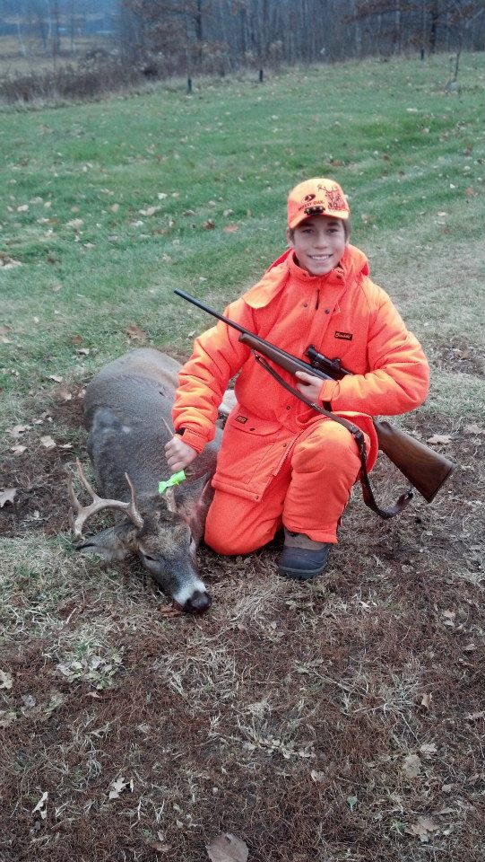 Hunting This is my first deer, off of my grandpas private land, it is a 7 pointer with the main beam broke off it would have been a nice 10