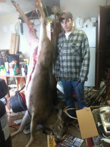 Hunting I butchered my own deer! Skinned it and removed the mane, roasts and back-straps