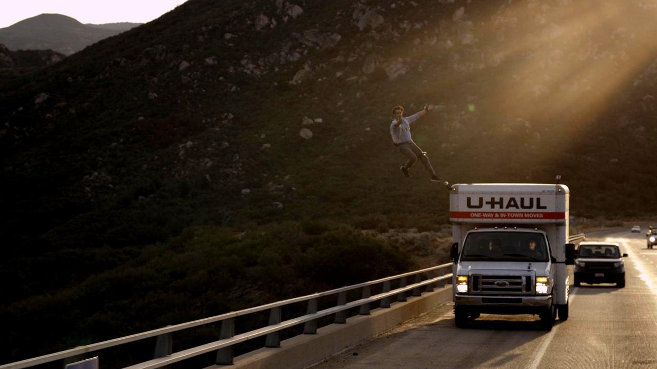 Extreme  no photoshop. and yes, they put grip tape on the side of the uhaul for a smooth jump.. over the bridge.