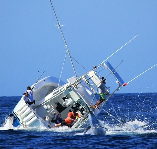 Blue marlin a bit too much for this boat thrill on for Best saltwater fishing line
