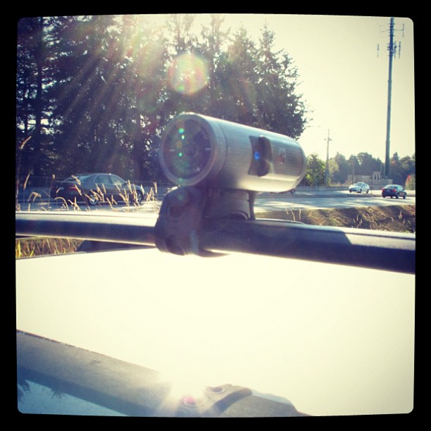 Entertainment Contour+2 attached to the roof rack with a Flex Strap. #timelapse #Vancouver to #whistler  http://instagr.am/p/QX-tGYMtrF/