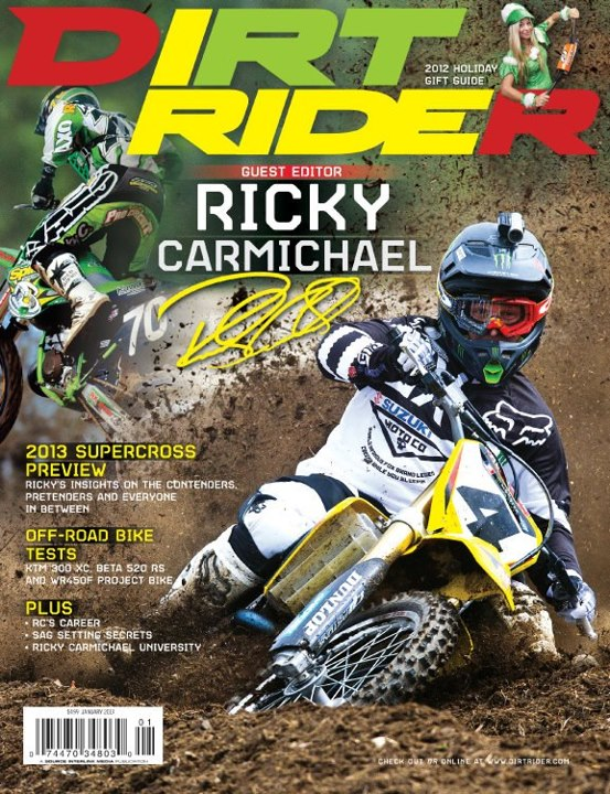 Motorsports Ricky Carmichael roosting the cover of Dirt Rider Magazine with a horizontal mounted Contour.
