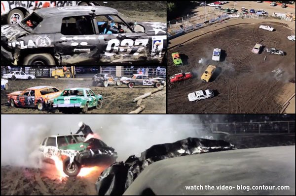 Entertainment Check out the CONTOUR shots and a car on fire in this demolition derby video on the CONTOUR blog: http://bit.ly/Nm88Up