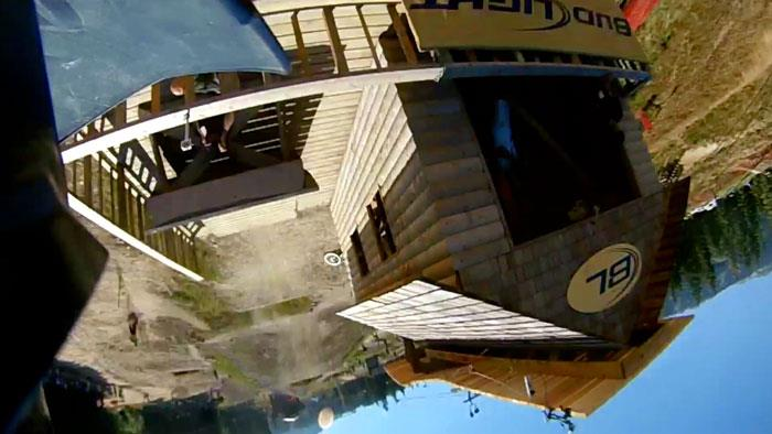Entertainment Andreu Lacondeguy's view a split second after hitting the lip and throwing a huge backflip. Take a minute and watch the video: http://bit.ly/NZTUIB