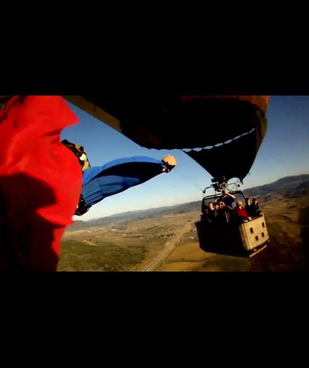 "Extreme ""Wing suit balloon flyby"" Screen shot from a ContourHD video submitted by Ryan C.  View the rest of the entries and submit your own! http://bit.ly/NJeooo"