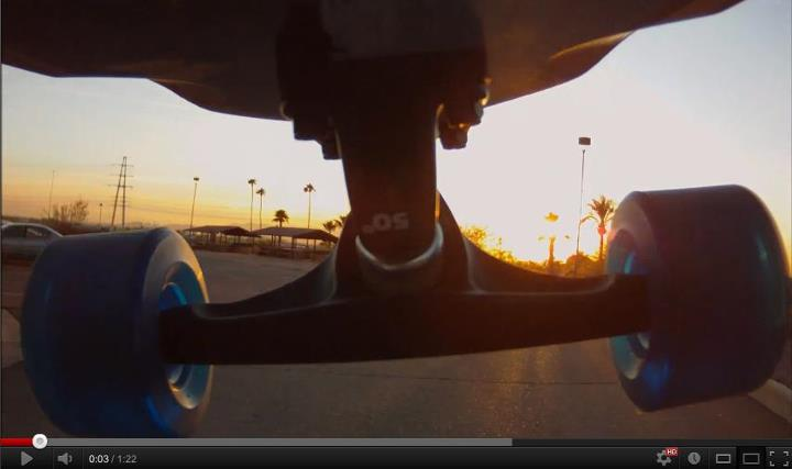 Skateboard Screen grab of CONTOUR fan Craig Haden's video!