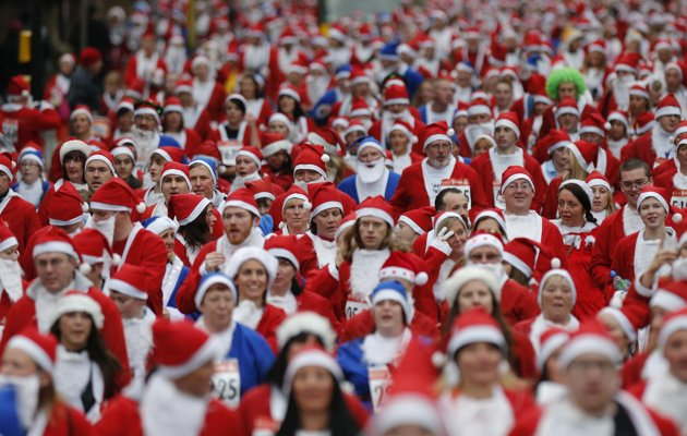 Entertainment Runners dressed in Santa Claus outfits compete in the annual Santa Dash in Liverpool