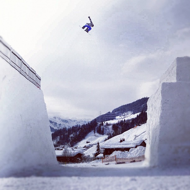 Snowboard Kjersti Buaas pulls a stylish backside 180 over a huge gap in Austria http://instagr.am/p/RqkKnxsIhN/