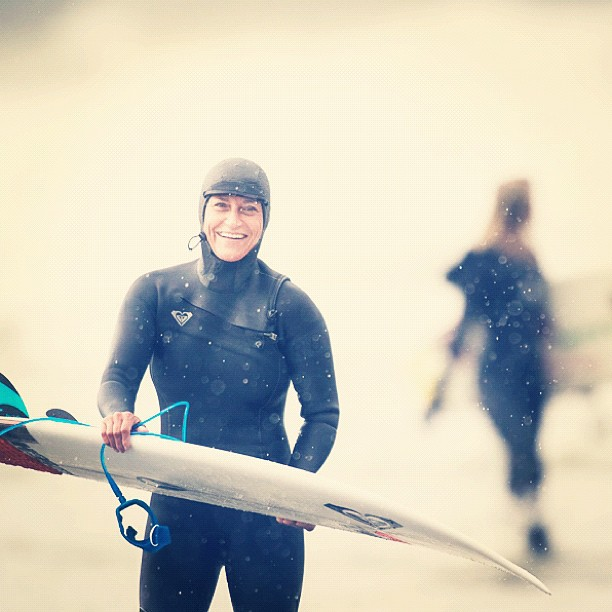 Surf Good waves cures everything. Lisa Andersen freezing cold but all smiles in Tofino, Canada #LisaAndersenChampCamp http://instagr.am/p/RQ3IViMIvY/
