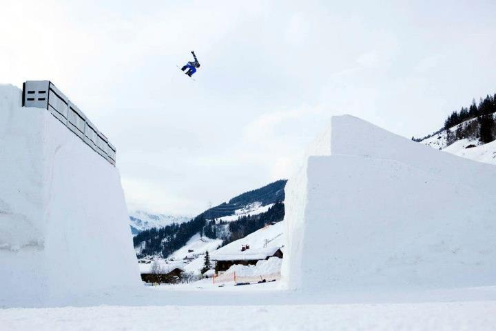 Snowboard Kjersti Buaas airs a huge backside 180 in Austria