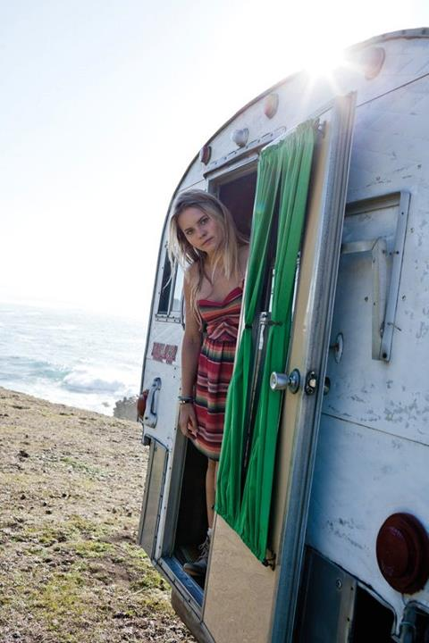 Surf Bruna Schmitz Oficial wearing the Fall Doll Dress in Big Sur, California