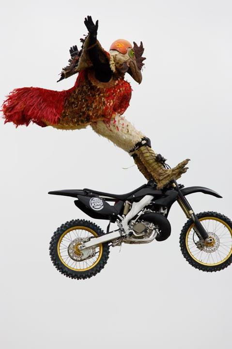 "Motorsports What are your Thanksgiving weekend plans? Anyone riding, or making any trips? Post up what you got going on below. [PHOTO Jeff ""Ox"" Kargola and Trigger Gumm dressed like chickens for a Burger King commercial. Trigger Jumped an easy 180ft while Ox was doin"