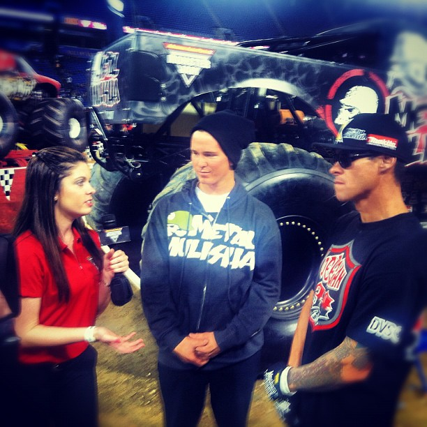 Motorsports Jacko Strong hanging out at Monster Jam tonight watching Deegan Get some serious air and go head-to-head with the rest of the lineup. #monsterjam @jackostrong @briandeegan38 @espn @xgames  http://instagr.am/p/Stg6M3iESk/