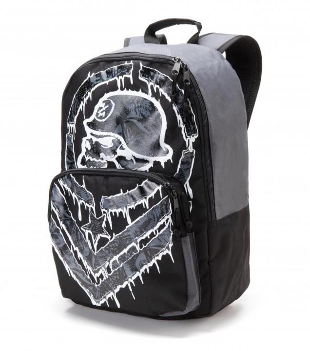 "Motorsports THUGGIN' BACKPACK Style #: M42572400 $44.00 Metal Mulisha Mens Thuggin' Backpack. Black backpack with engineered front screen print, contrast grey panels, black nylon zipper pulls, 1 side mesh pocket, and front organizer pocket. 12"" W X 17.5"" T X 6"" D htt"