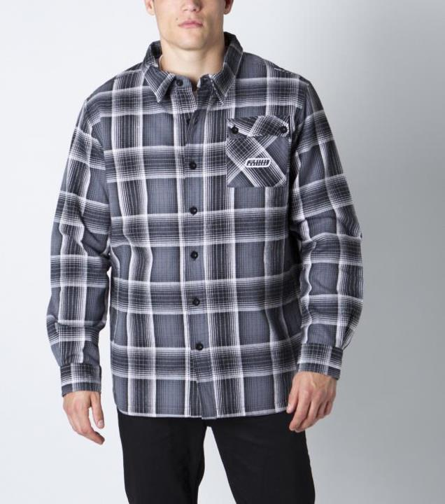 Motorsports CALIBER Style #: M42502404 $72.00 Metal Mulisha mens plaid woven button up jacket with front patch pocket and embroidery art on back. http://www.metalmulisha.com/shop/clothing/mens/caliber/