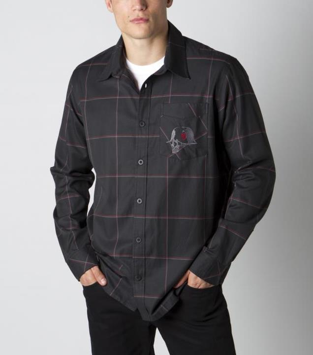 Motorsports INCISE SHIRT Style #: M42504400 $48.00 Metal Mulisha Mens shirt. 65% cotton 35% poly yarn dye plaid longsleeve button up with embroidery art at front pocket. http://www.metalmulisha.com/shop/clothing/mens/incise-shirt/