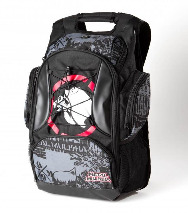Motorsports RED EYE BACKPACK Style #: M32572300 Was $78.00 Now $61.99 Metal Mulisha mens poly backpack with contrast perforated faux leather, side zipper and mesh pockets, tricot lined media pocket with headphone portal, padded zipper laptop pocket, mesh cell phone p