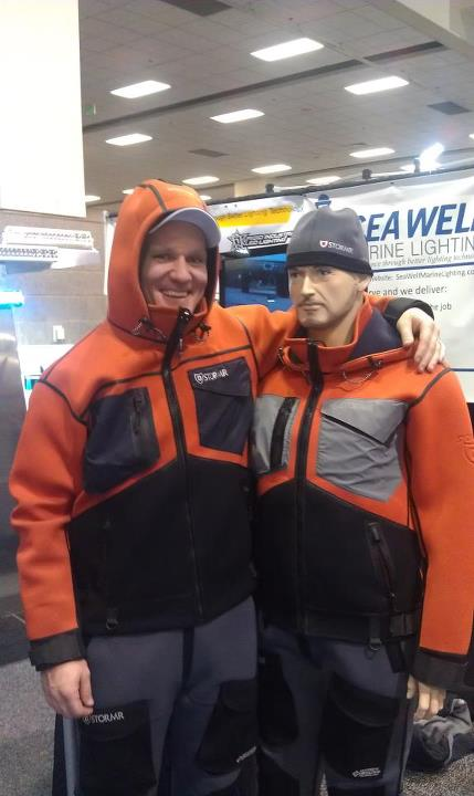 "Entertainment Deadliest Catch's Mike Fourtner from the ""Time Bandit"" likes the new STRYKR series jacket and bib coming this January from STORMR.    This new series was built to withstand the  harshest weather and working environments of the professional fisherman or ma"