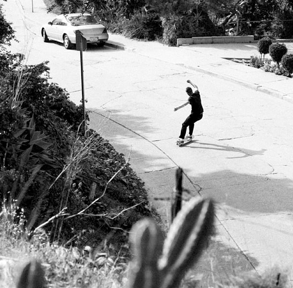Skateboard You know, just the simple things in skateboarding... Hill bombs and power slides. David Clark burning urethane.