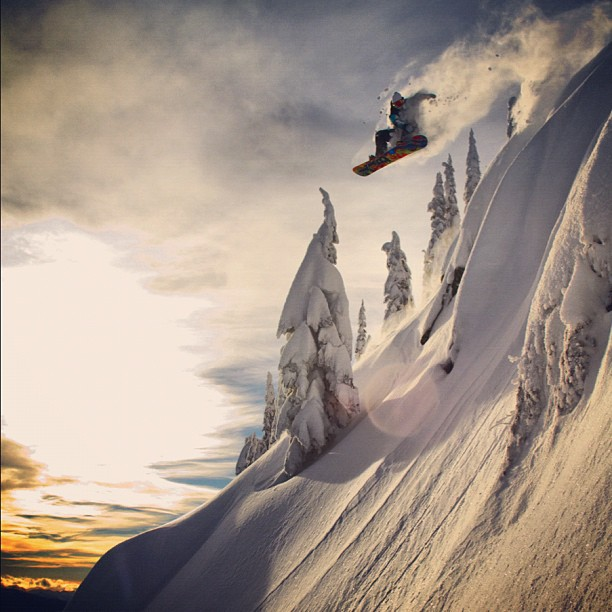 Snowboard Travis Rice launching into the beyond @travisrice http://instagr.am/p/KGXE-5iPI5/