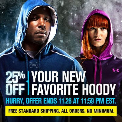 Entertainment TIME'S RUNNING OUT! Special holiday pricing on UA fleece ends tonight at 11:59pm EST. Get your hoodies here: http://bit.ly/RZewnf
