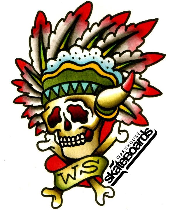 Skateboard Luke Worley tattoo design for Warehouse Skateboards.