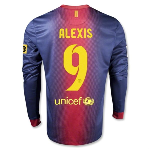 Entertainment ALEXIS Barcelona Home Long Sleeve Soccer Jersey 2012/2013