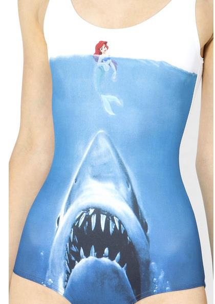 Entertainment There's another Aussie company called Black Milk that makes some pretty fun stuff. One of us is a big fan of their leggings. Saw this swim suit and couldn't pass up posting it for Meme Monday: The Little Mermaid + Jaws Poster.