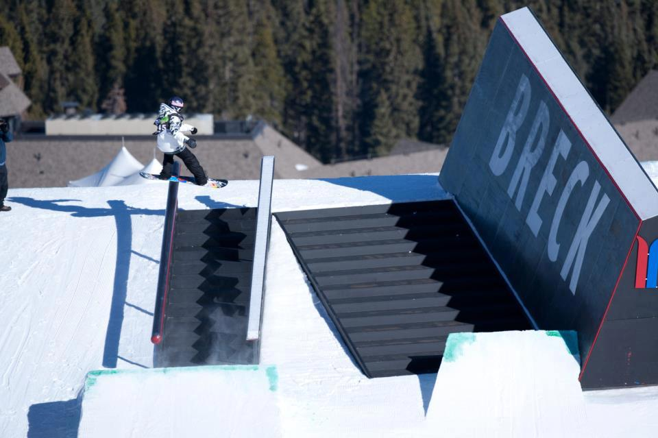 Snowboard Seb Toots throwing down—or up—on last year's winning submission of the Dew Tour's Design A Feature contest.