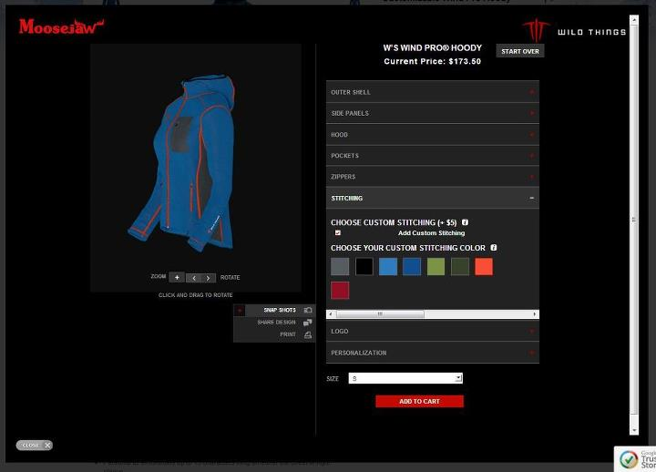 Entertainment We just got the Wild Things Configurator up and running on the site. Finally, technical jackets that can be customized to perfectly match my pack. Design one here: http://bit.ly/WqpfLZ