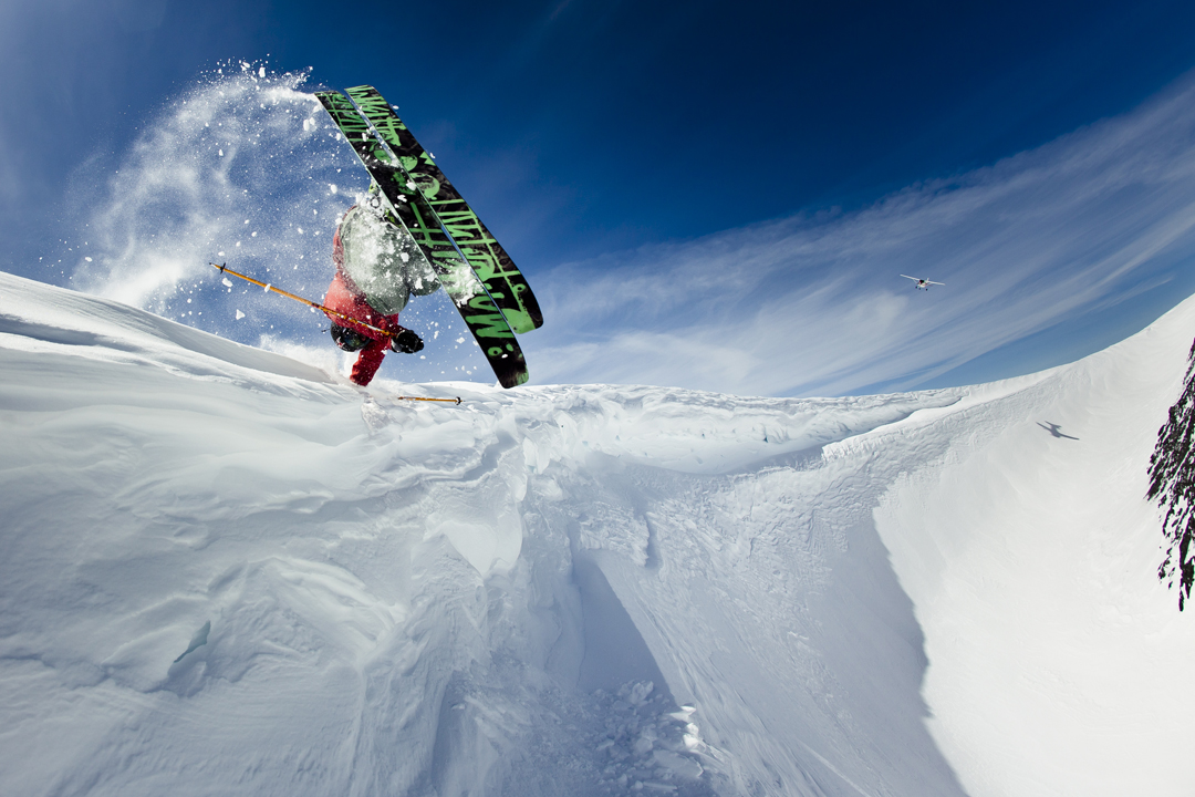 Ski KC Deane shot by Mason Mashon @ Brandywine, Whistler Backcountry, BC. In flight, Rory Bushfield.