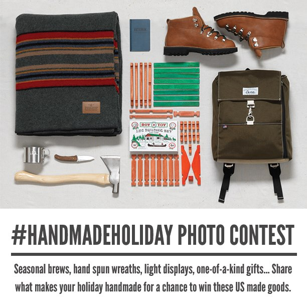 Entertainment Make sure to take some #handmadeholiday photos this weekend for your chance to win a prize package of US MFG Goods, including your very own pair of Danner boots.  We'll announce a new winner on Monday. 