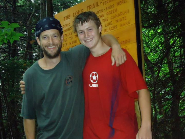 Camp and Hike July 15th - the Father and Son team finish the trail at the Vermont/Canada border.  Congrats guys!